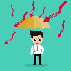 businessman holding umbrella protect risk.