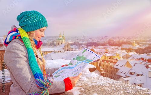 Fototapeta Cute traveler girl