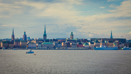 Beautiful super wide-angle aerial view of Stockholm, Sweden