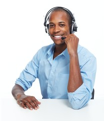 Call center operator man.