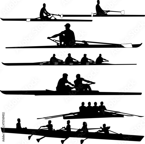 rowing collection silhouettes - vector - 75769452