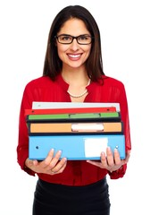 Young student woman with books.