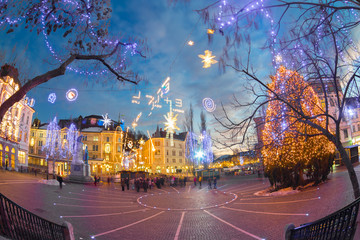 Ljubljana's city center decorated for Christmas.