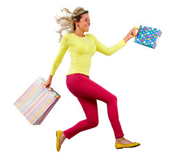 Happy running Shopping woman
