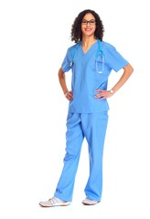 Medical doctor woman isolated white.
