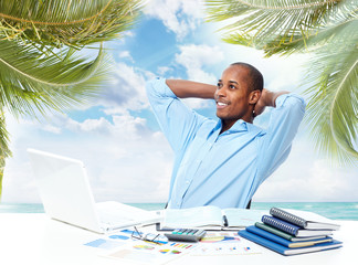 Relaxing black businessman.