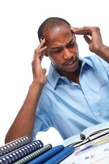 African-American businessman having stress.
