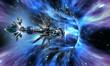 Leinwandbild Motiv Deep space background with exotic wormhole system