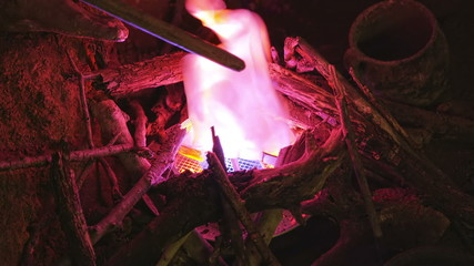 Artificial fire burning