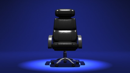 Spotlighted Business Chair, Blue Background