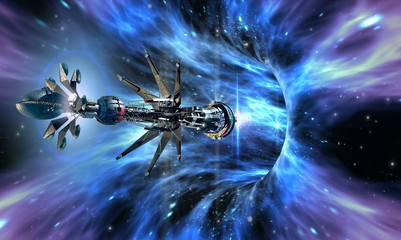 Deep space background with exotic wormhole system