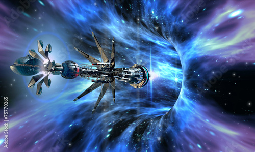 Deep space background with exotic wormhole system - 75770265