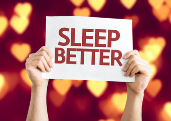 Sleep Better card with heart bokeh background