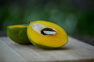 Two halves of mango