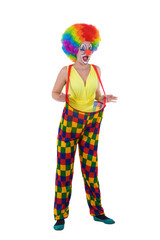 Funny clown in colorful wearing, standing on white background