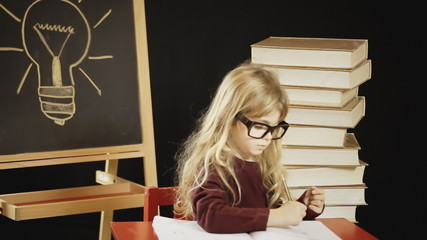 Little girl school glasses cute studying