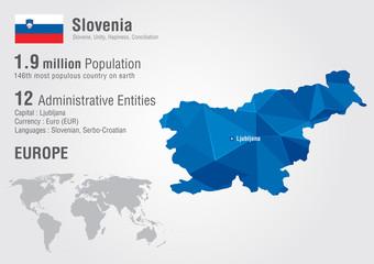 Slovenia world map with a pixel diamond texture.