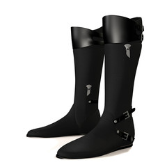 Black boots on white background.