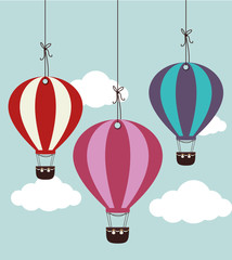 Airballoon design over cloudscape backgroundvector illustration