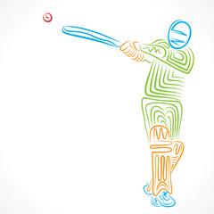 creative sketch design cricket player vector