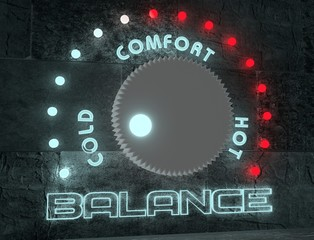 balance adjust between cold and hot. regulator with neon shine