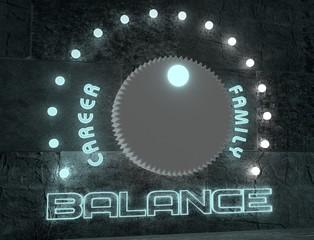 balance adjust between career and family. regulator neon shine