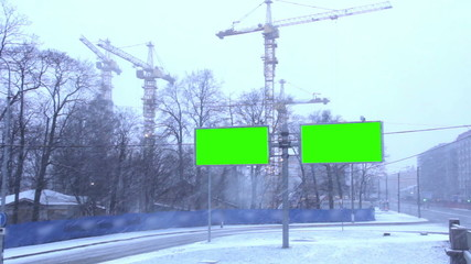 Billboard chromakey. St Petersburg. Russia.