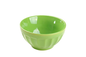 Empty green bowl, isolated on white background