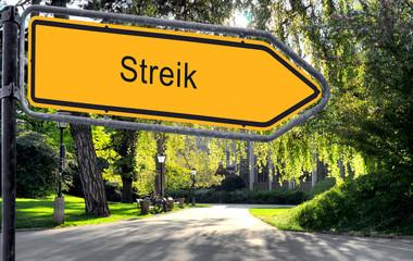 Strassenschild 25 - Streik