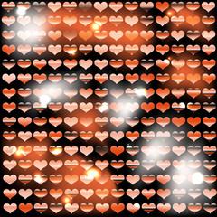 Фон из блестящих сердец с рыжим оттенком
