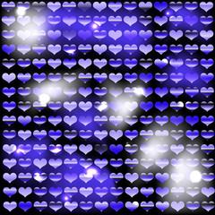 Фон из блестящих сердец с синим оттенком