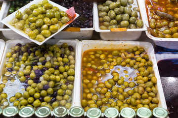 Many fresh and pickled olives