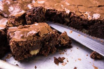 Brownies in baking sheet