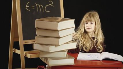 Little girl school timelapse books