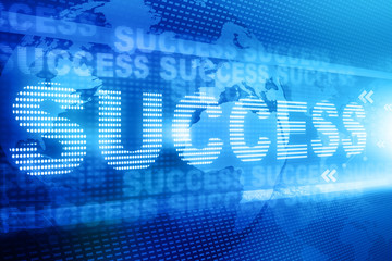 success text over abstract blue  background.
