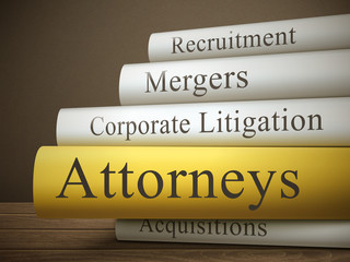 book title of attorneys isolated on a wooden table