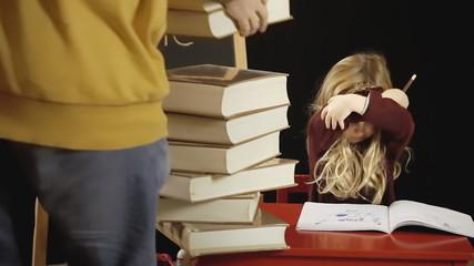 Little girl school too many books