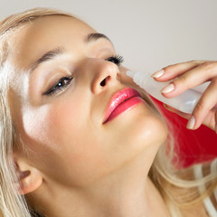 Woman dripping nose