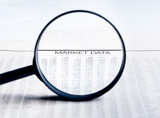 market data words see through lens of loupe
