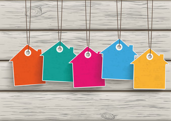 5 Colored Price Sticker House Wood