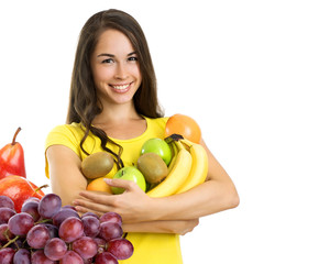 Beautiful young happy woman with fruits