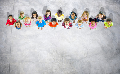 Diversity of Children Aspiration Future Looking up Concept