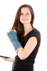 Girl broken arm and tablet