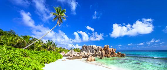 panorama of beautiful beach in La digue island, Seychelles