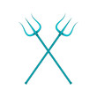Two crossed tridents in blue design