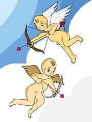 Cartoon cupid on sky