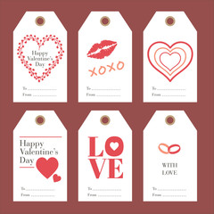 Collection of Valentine card Tag and Label on paper with element