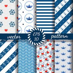 Set of nautical seamless patterns. Vector illustration.