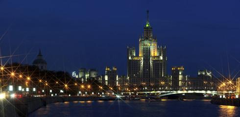 Stalin's empire architecture. Skyscraper in soviet style.