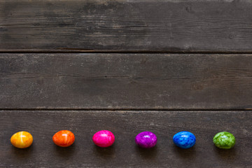 Easter Eggs rainbow colors copyspace